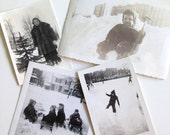 Vintage Photos of Sledding and Playing in Snow Set of Four