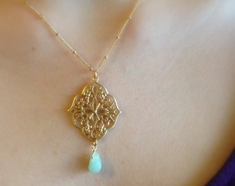 Moroccan Gold Necklace with Stone Drop
