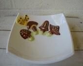 RETRO MUSHROOM 1970s Ceramic BOWL, Square Dish: Vintage Serving