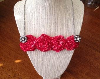 Red polka for rosette bib necklace