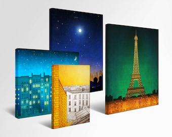 Any illustration on ROLLED canvas - Fine art illustration Art Paris art Wall art Parisian home decor Living room decor Large wall art Modern