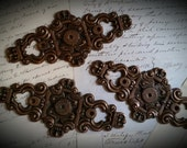 RESERVED FOR ANNE 17 Antique Salvaged Hardware Big Gorgeous Ornate Copper Metal Backplate Hardware Escutcheons Door Drawer Pull Covers