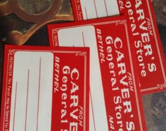 6 Large Antique Carver's General Store Maine Red Dennison Gummed Labels Lot