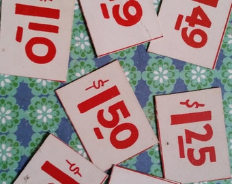 Mid Century Antique Shop Price Tags