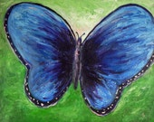 Reserved for Catherine Abstract Blue BUTTERFLY Painting ORIGINAL Impressionist Art, Ready to Hang 30x24 Whimsical ART by Abbie Blackwell