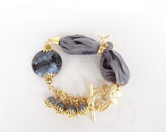 Grey Agate Bracelet, Turkish Silk  Bracelet , Gold Bracelet, Feminine, Handmade,