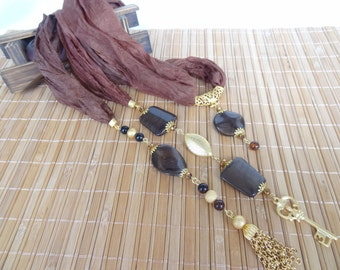Brown Jewelry Scarf, Scarf Necklace, Gold Necklace, Turkish Silk Necklace, Mother Day Gifts