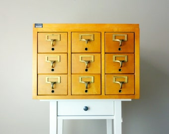 SOLD Vintage Library Card Catalog - 9 Drawer Wooden Maple Apothecary Cabinet w. Brass Hardware in Good Condition