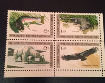 1971 US Stamps Wildlife Conservation Series Polar Bear// Candor// Trout// Alligator: Set of 4 Philatelic Gift under 5