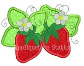 Strawberries Flower Applique Machine Embroidery Design Girl summer fruit INSTANT DOWNLOAD