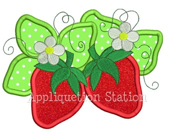 Strawberries Flower Applique Machine Embroidery Design Girl summer fruit INSTANT DOWNLOAD