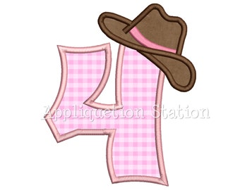 Number Four Cowgirl Hat 4th Birthday Applique Machine Embroidery Design girl 4 INSTANT DOWNLOAD