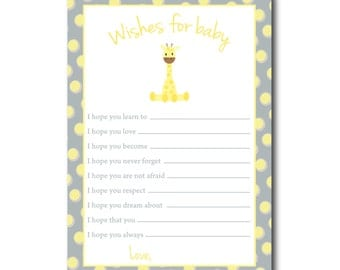 giraffe baby shower wish list for baby gender neutral yellow and
