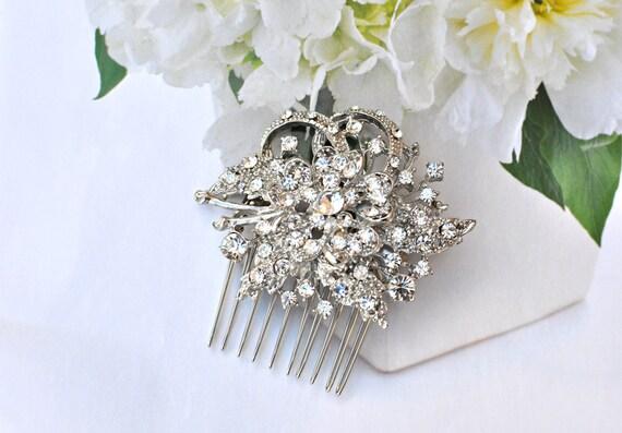 Vintage Inspired bridal hair comb, Swarovski hair comb, wedding hair comb, bridal hair accessories, wedding hair