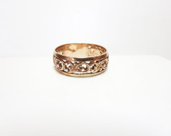Vintage  Filigree  Ring -Gold plate filigree ring  - 925 Sterling Silver