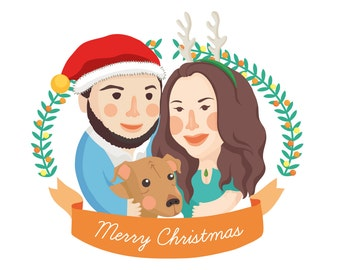 CUSTOM Family / Pet portrait Personalised Christmas Card greeting card