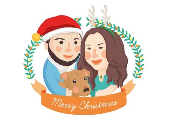 CUSTOM Family / Pet portrait Personalised Christmas Card greeting card