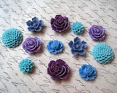 Flower Cabochons, 12 pc Cabochon Flowers in Blue, Purple, Dark Lilac, Aqua, Resin Cabochon Flowers Perfect for DIY Projects