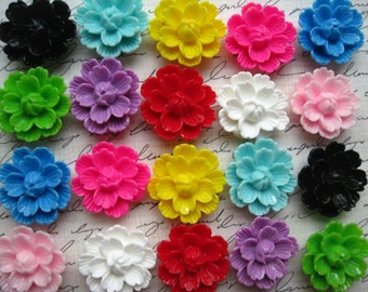 Large Resin Flower Cabochons / 6 pcs Mixed Lot Resin Poppy Flowers.... Perfect for Pendants