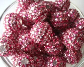 Pink Striped Rhinestone Bead, 20mm Bumpy Bead, 6 pcs, Disco Ball Bead, Gumball Beads, Bubblegum Bead, Acrylic Bead, Chunky Beads