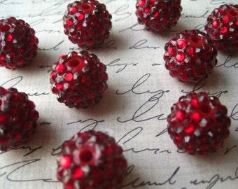 Ruby Red Disco Ball Beads, 16mm Rhinestone Bead, 10 pcs, Bumpy Necklace Bead, Gumball Beads, Bubblegum Bead