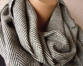 Black beige  Women And Men Infinity Scarf- Wool Blend-Herringbone Winter Fashion-Women and men scarf-Tweed Wool-Winter Accessories