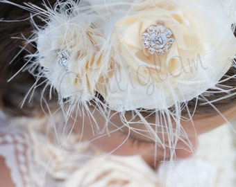 Ivory shabby headband, flower girl headband, Baby girl headband, photo prop head piece