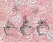 Bunny rabbits in teacups on pink vintage rose background art print 8x10