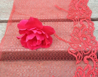 2 Yards 6.2 inch (15.8 cm) Red Lace Trim Embroidered Hollowed Flower Floral Fabric  Dress Trim Lace Fabric Costume Curtain LaceMode 0158