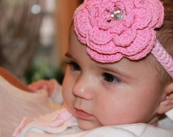 Crochet headband, Pink flower headband, girls headband