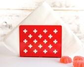 Napkin holder dispenser // RED swiss crosses // laser cut metal napkin dispenser // kitchen accessory letter holder // free delivery