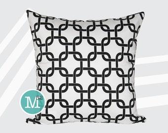 White & Black Lattice Gotcha Pillow Cover Sham - 18 x 18, 20 x 20 and More Sizes - Zipper Closure - sc1820