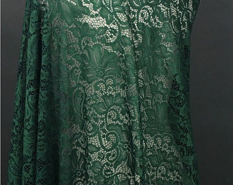 kelly green lace fabric, stretch lace fabric, green lace, alencon lace, fabric by yard SALE