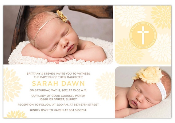 Baby Girl Baptism Invite / Christening Invitation with Photo - Flowers