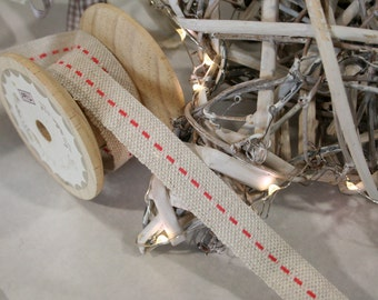 Jute ribbon with Red Stabstitch Ribbon, Hessian Ribbon, Christmas Ribbon, By the Metre, 15mm