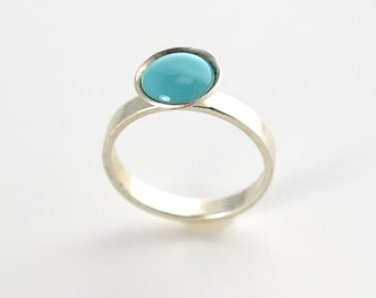 Sterling Cup Ring | Aquamarine Silver Ring