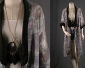 Kimono Jacket Duster Coat Caftan Bohemian Gypsy lavender black women size S small US 4