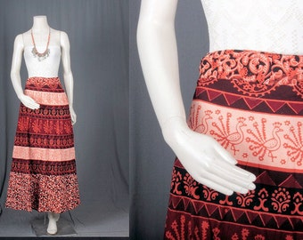 Red Wrap skirt maxi cotton Indian print ethnic bohemian hippie gypsy women L Large
