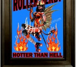 Roller Derby Art Print 8 x 10 - Hotter Than Hell - Roller Skating - Derby Girl - Pin Up Retro Devil Girl Tattoo