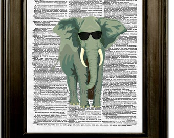Elephant Sunglasses Art Print 8 x 10 Dictionary Page - Pop Art Animal Wearing Shades - Anthropomorphic
