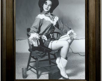 Gil Elvgren Pin Up Girl Art Print 8 x 10 - Painting Reference Photo - Pinup Cowgirl - Western Rockabilly - Version Two
