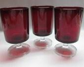 Luminarc Ruby Red Cavalier Wine 12 Oz Goblet Glassware Crystal Stemmed, c1970's France