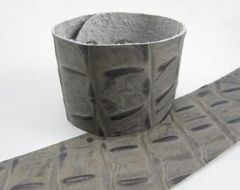 "Gator Taupe Leather Cuff Bracelet  1-5/8"" Wide, #57-802"