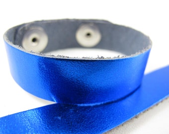 "Metallic Blue Leather Cuff Bracelet 5/8"" Wide, #50-85831009"