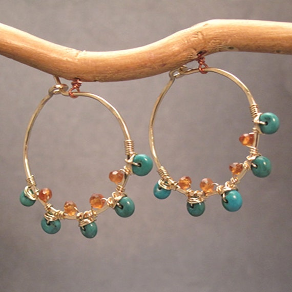 Small Hammered Hoops With Turquoise Mandarin Garnet Cleopatra