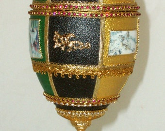 Decorated Emu Egg - Chinese Art - Dragons - Faberge Style