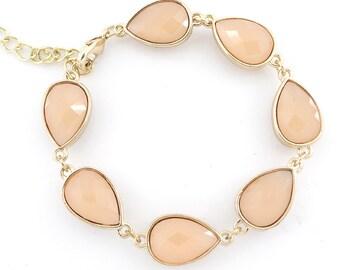 Gorgeous Gold-tone Orange Pink Faceted Bead Bracelet,N1