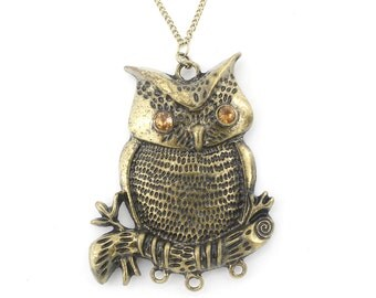 Vintage Retro Gold-tone Cute OWL on Branch Pendant NECKLACE
