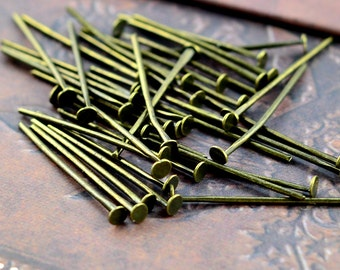 100pcs 25mm Antique Bronze T Pin/ Headpins Findings