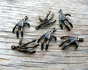 Creepy Skeleton Hand Charms - Raven Claws - Macabre - Halloween - Crow Claws - Crow Charms - Skeleton Charms